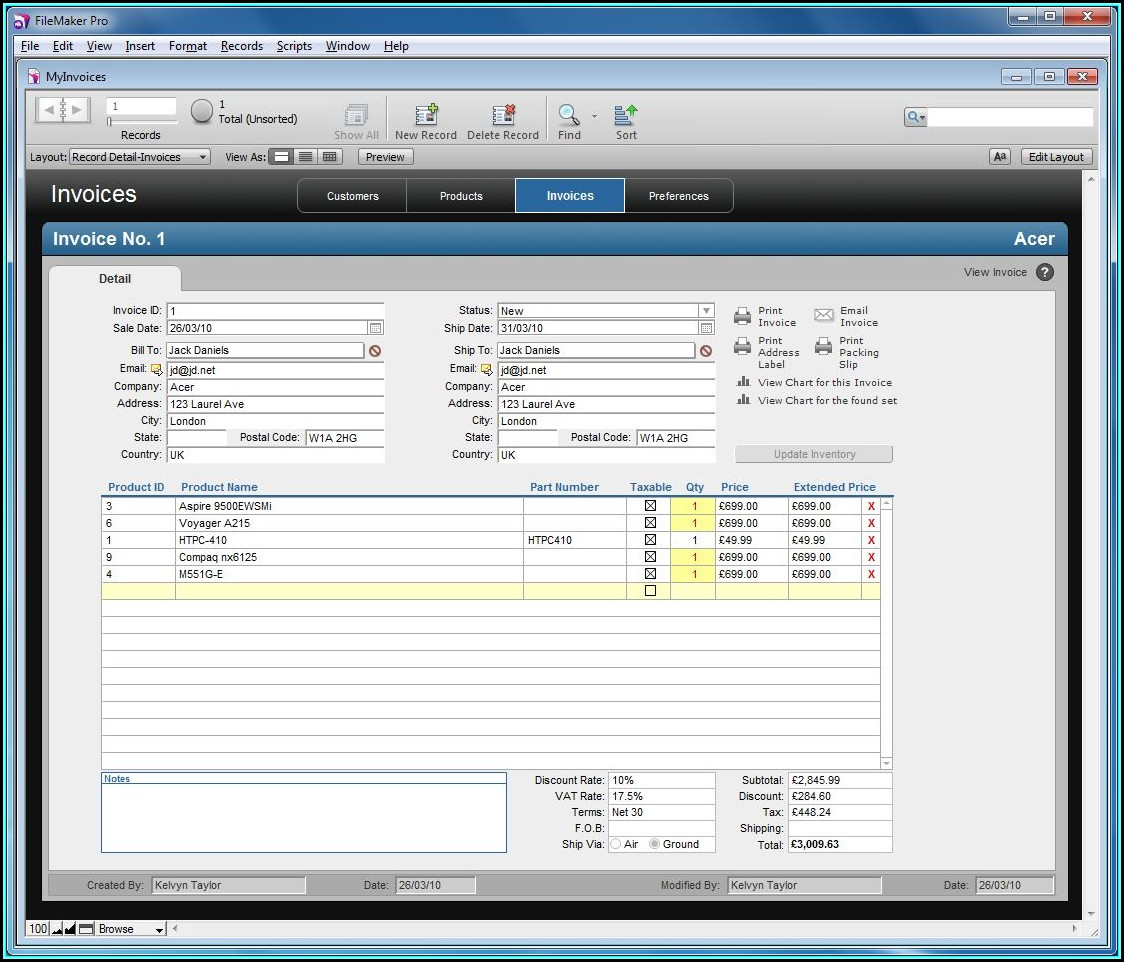 Filemaker Invoice Template Download