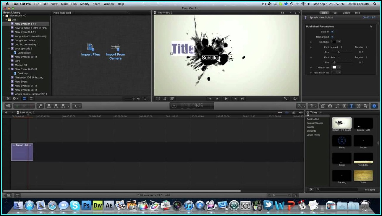 Final Cut Pro X Intro Templates Free