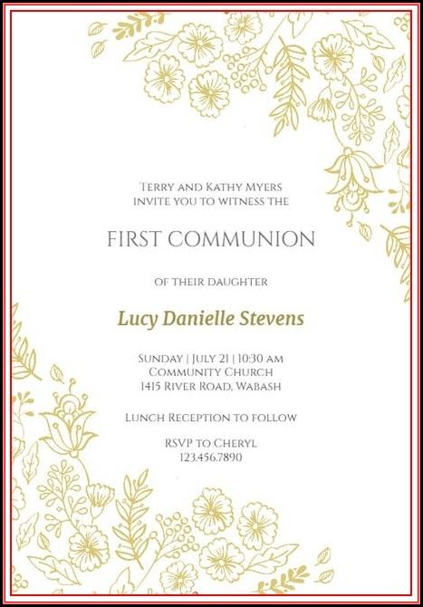 First Communion Invite Templates