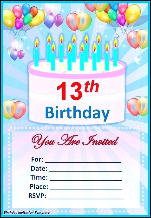 Free 13th Birthday Card Template