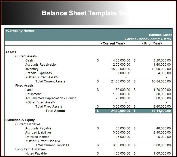 Free Balance Sheet Template For Small Business