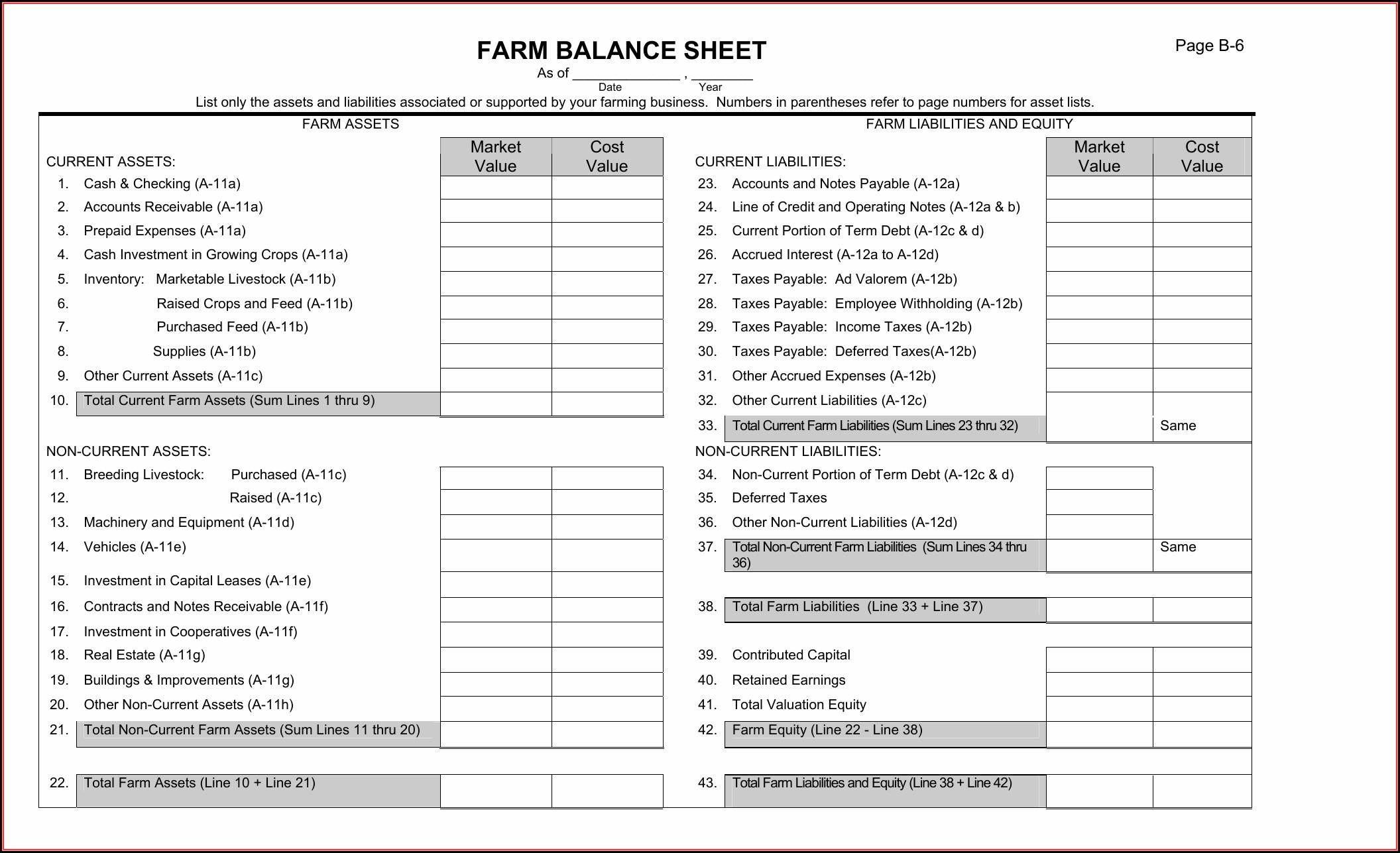 Free Balance Sheet Template Pdf