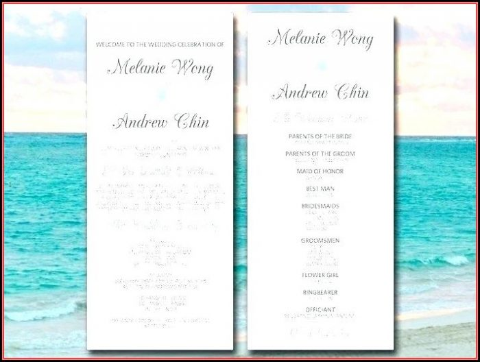 Free Beach Wedding Itinerary Template