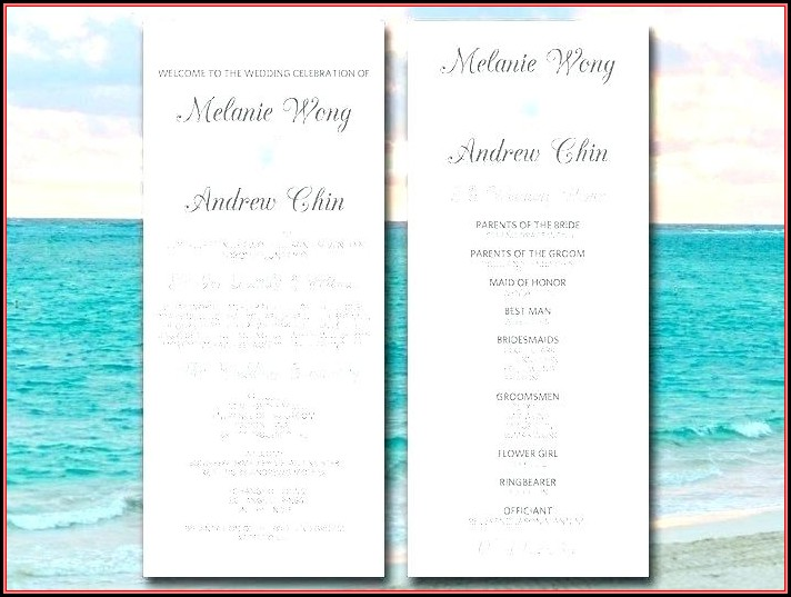 Free Beach Wedding Itinerary Template