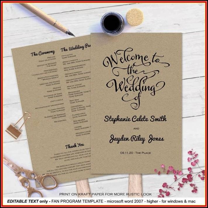Free Bi Fold Wedding Program Templates Microsoft Word