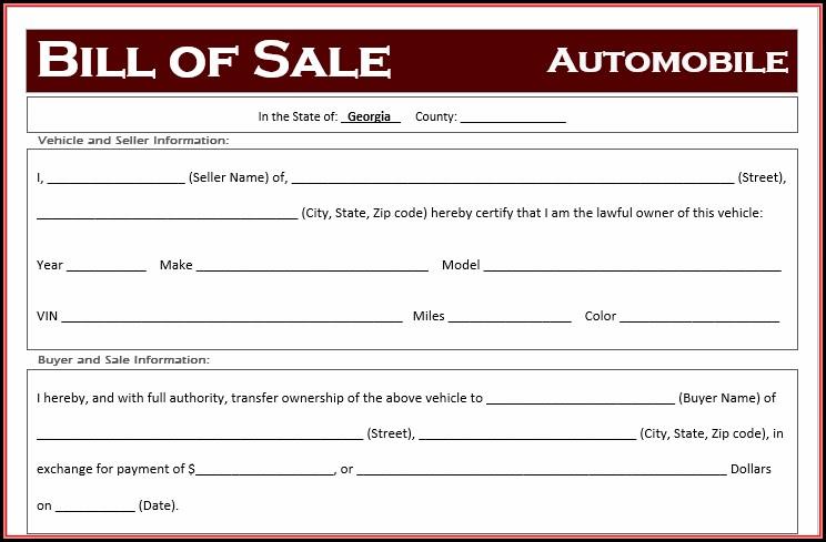 Free Bill Of Sale Template Georgia
