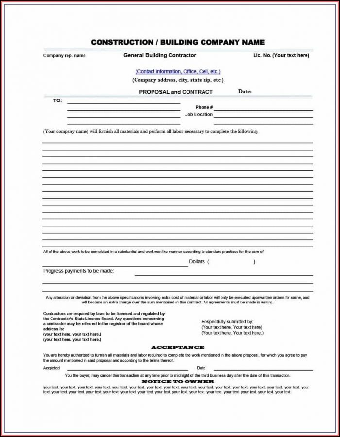 Free Builders Contract Template