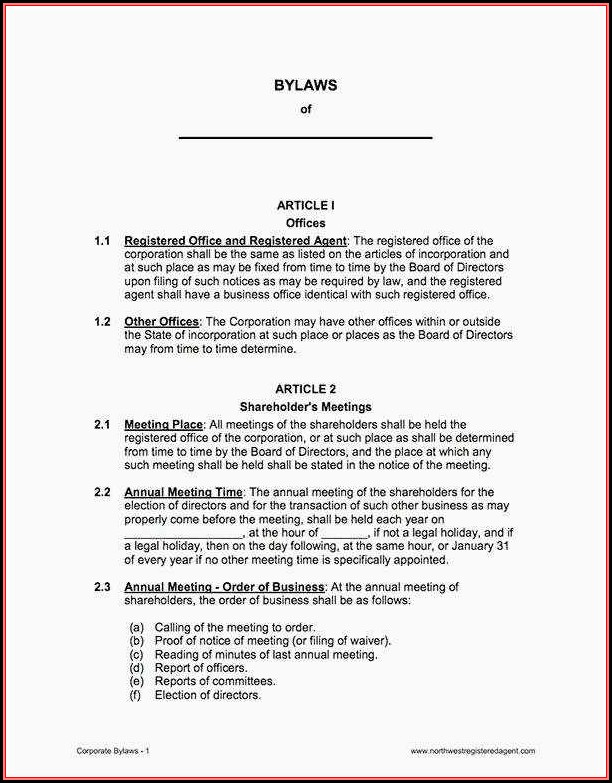Free Church Bylaws Template