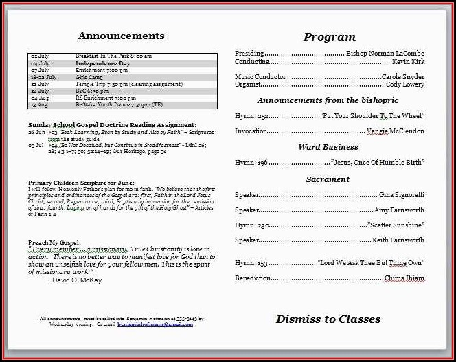 Free Church Program Template Microsoft Word