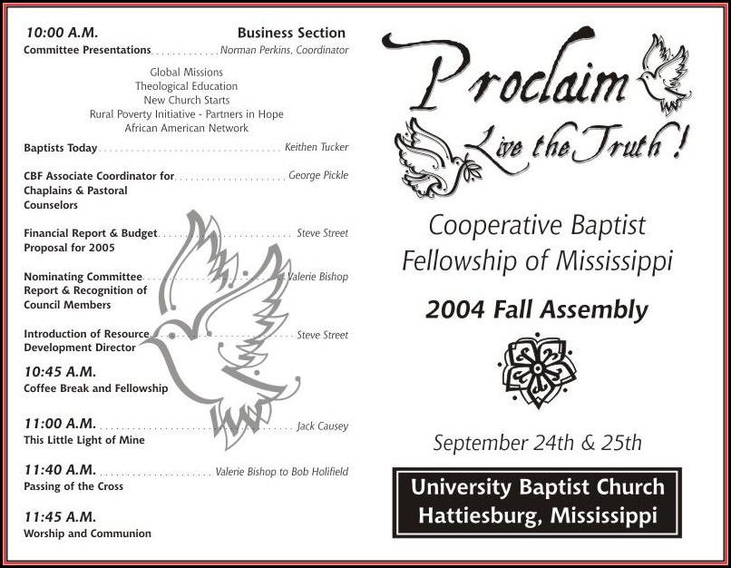Free Church Program Template