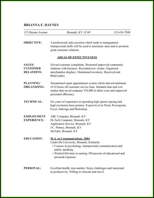 Free Combination Resume Templates