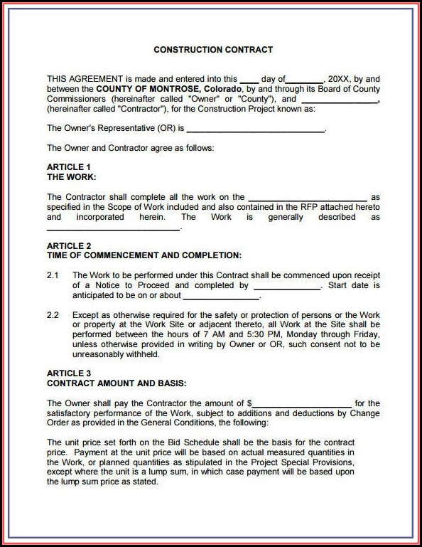 Free Construction Contract Forms