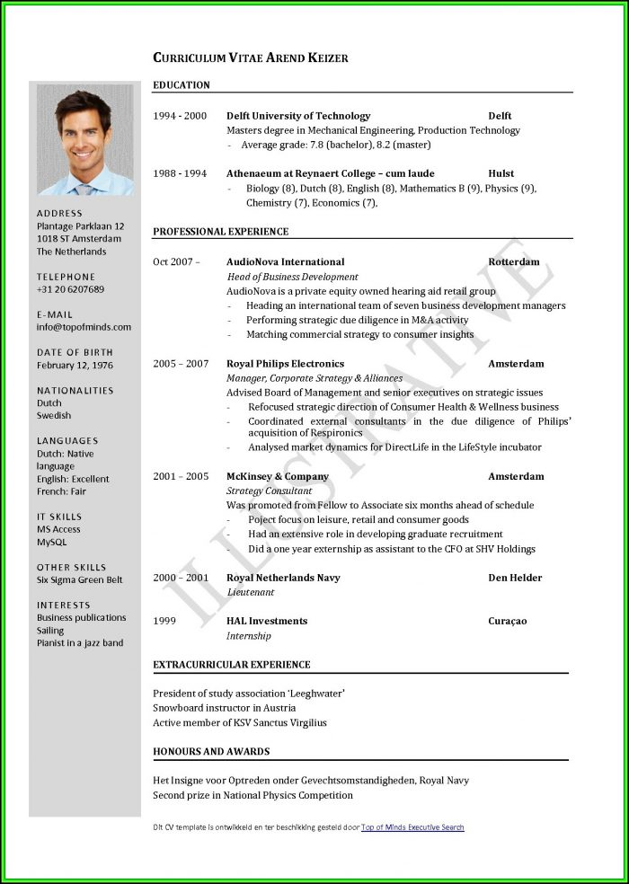 Free Curriculum Vitae Samples Downloads