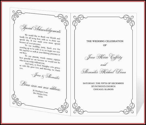 Free Downloadable Wedding Program Templates Word