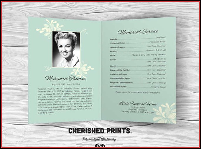 Free Editable Funeral Program Template Download