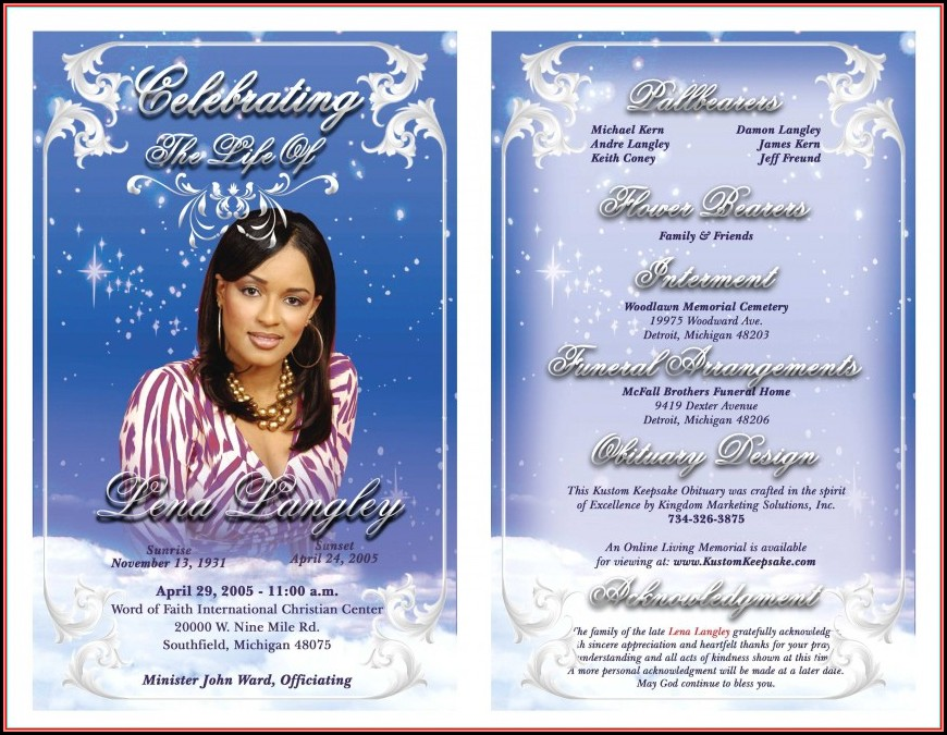 Free Editable Funeral Program Template Microsoft Word Uk
