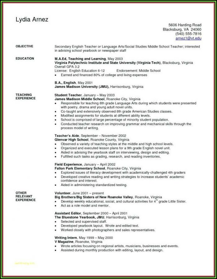 Free Elementary Education Resume Templates
