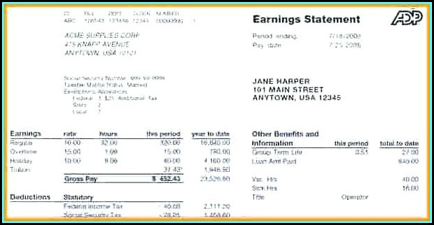Free Employee Earnings Statement Template
