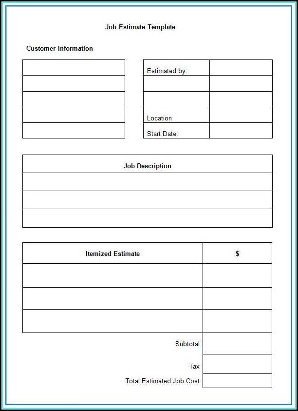 Free Estimate Template Word Document