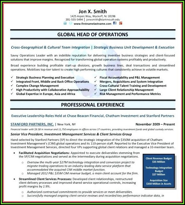 Free Executive Resumes Templates