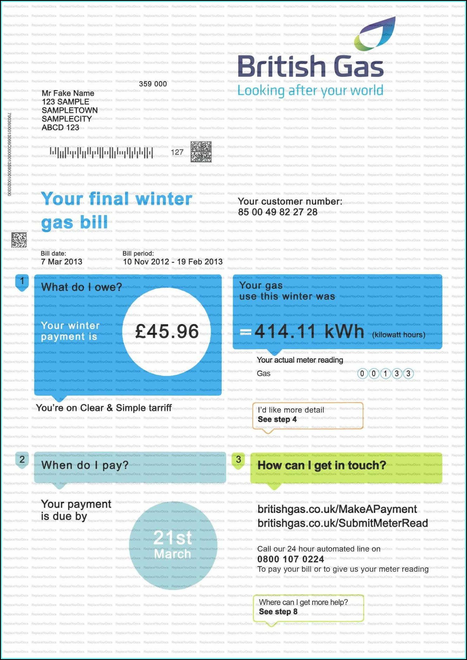 Free Fake Utility Bill Template Uk