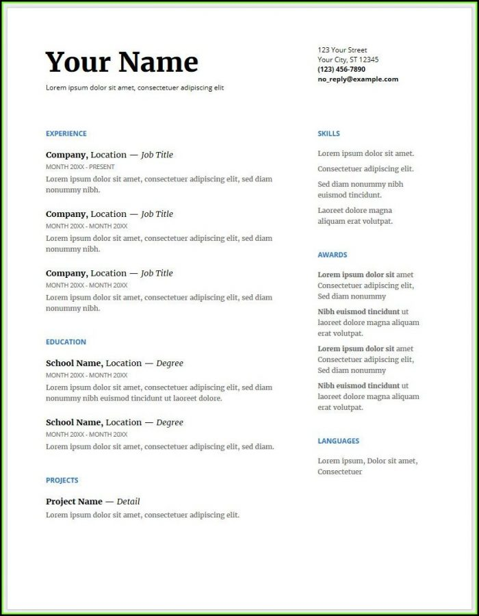 Free Google Doc Resume Template