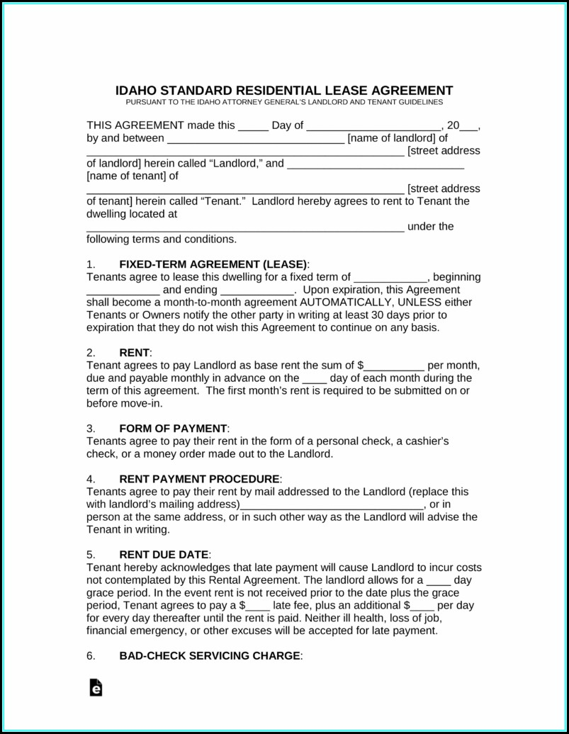 Free Idaho Lease Agreement Template
