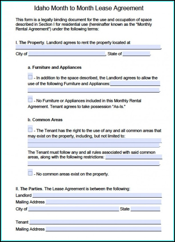 Free Idaho Rental Agreement Form