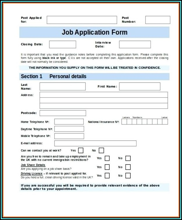 Free Job Application Form Template Word Uk