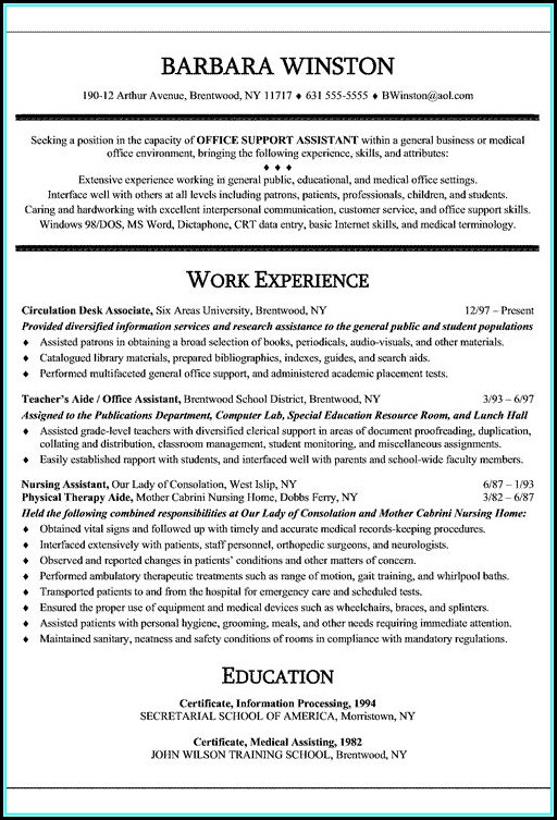 Free Medical Office Assistant Resume Templates