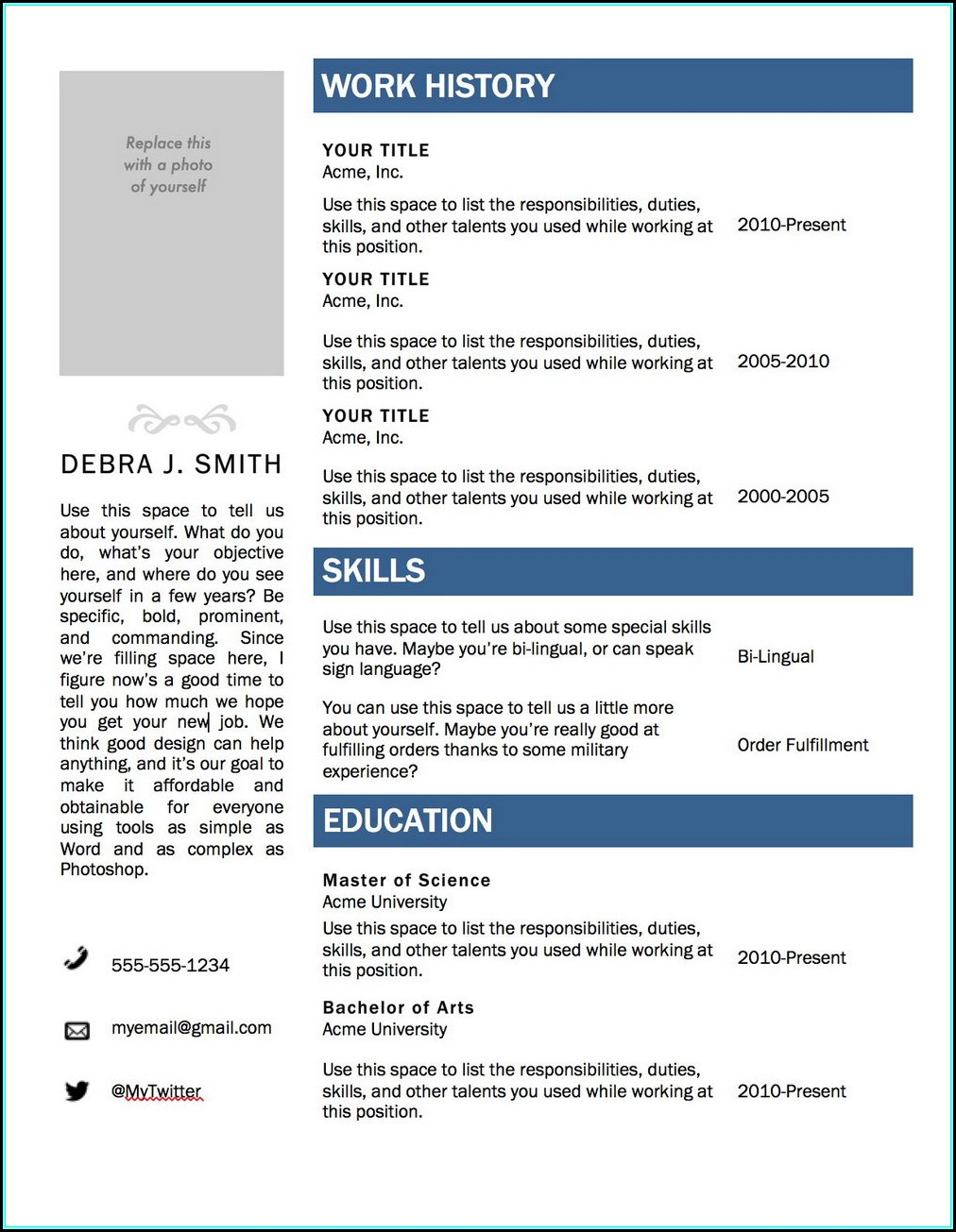 Free Microsoft Cv Template Download