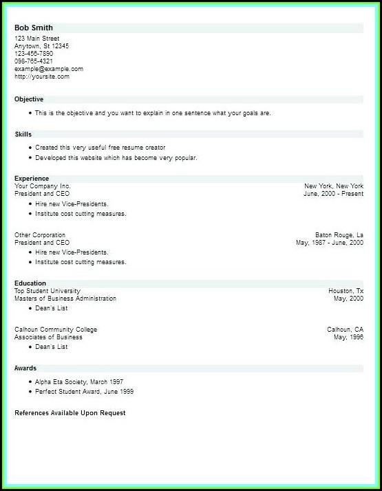 Free Online Resume Builder No Download