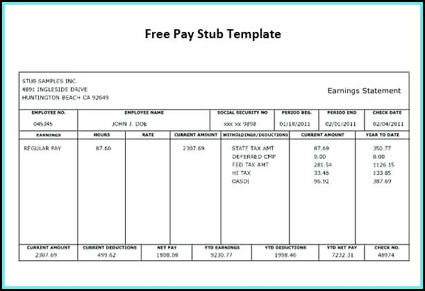 Free Printable Paycheck Template