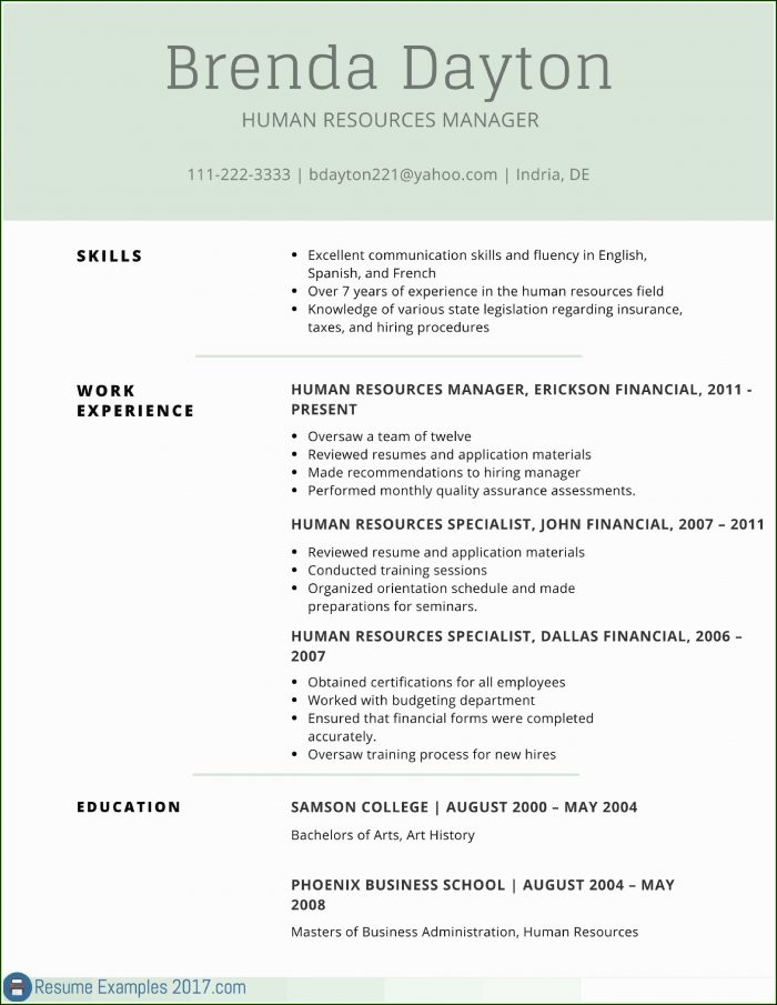 Free Professional Resume Templates 2017