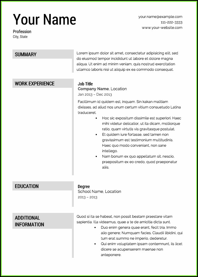 Free Resume Example Download