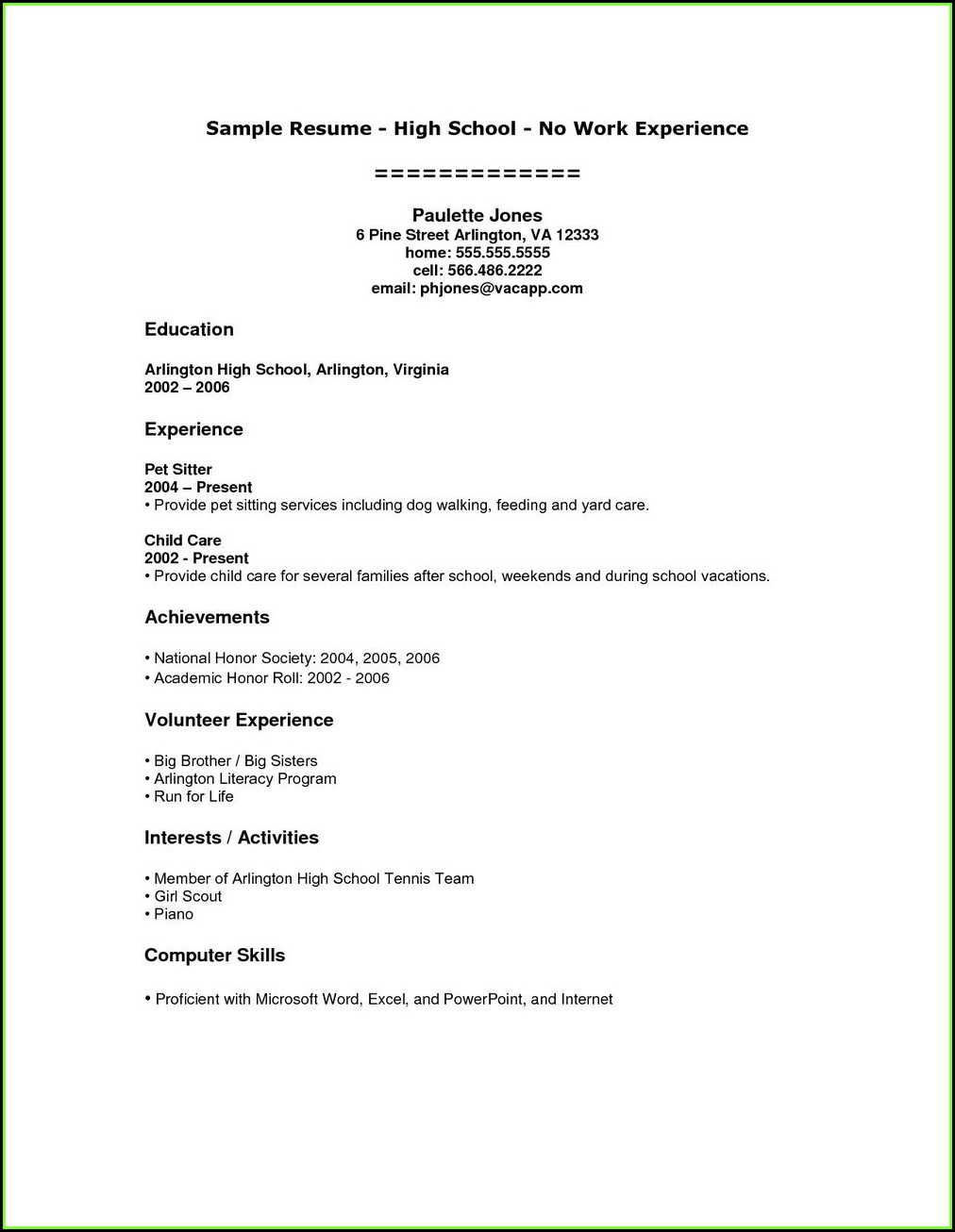 Free Resume Template For High School Student With No Work Experience