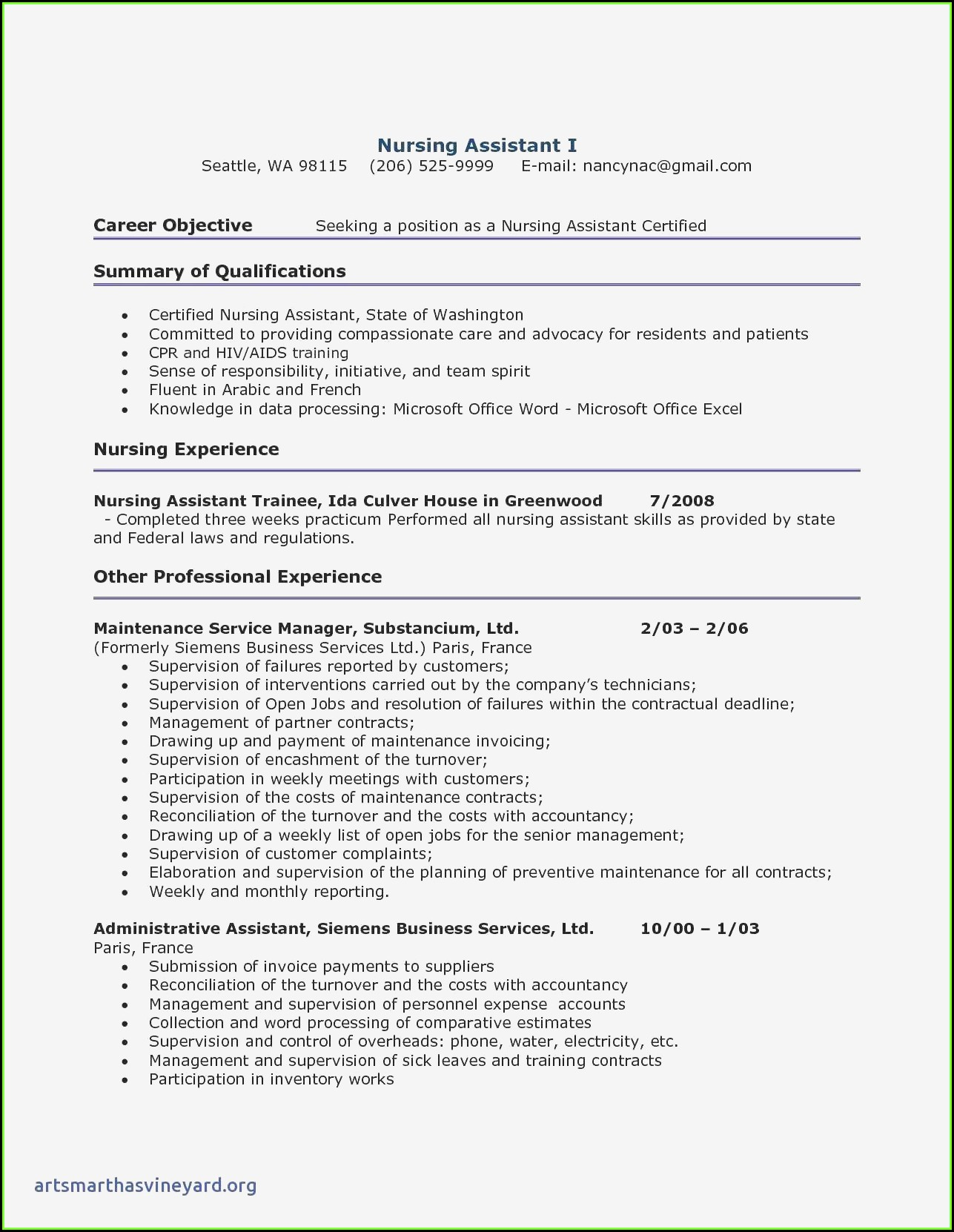 Free Resume Templates For Certified Nursing Assistant
