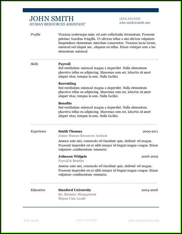 Free Resume Templates Microsoft Word Download