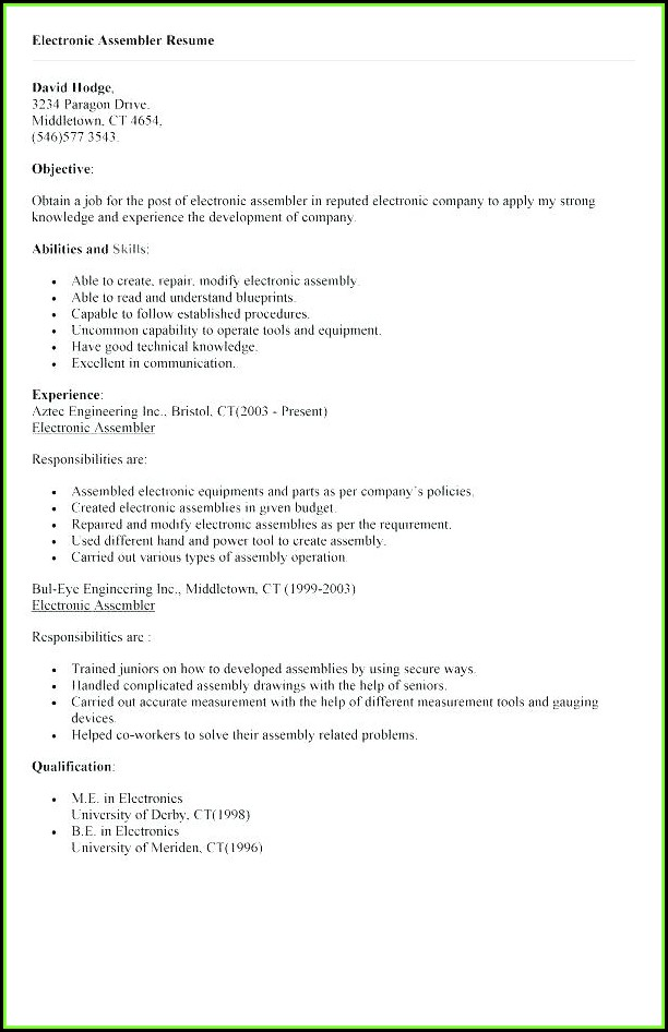 Free Sample Electronic Assembler Resume