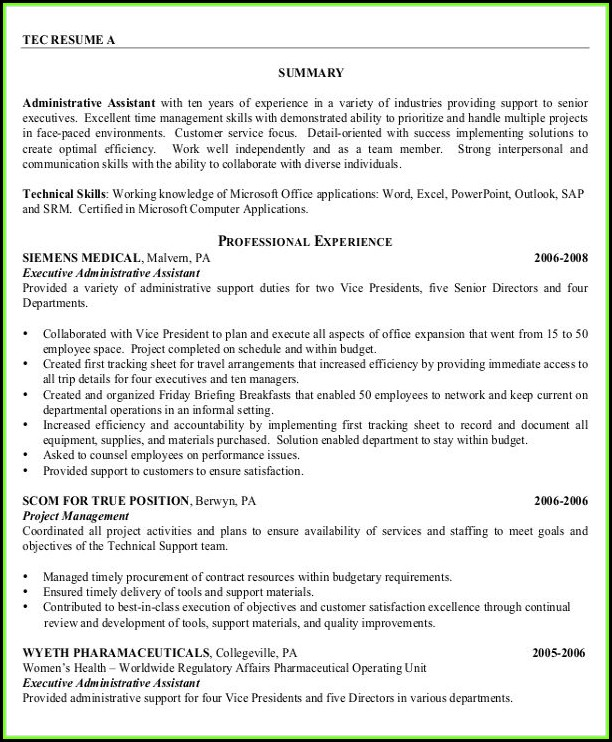 Free Sample Executive Assistant Resume