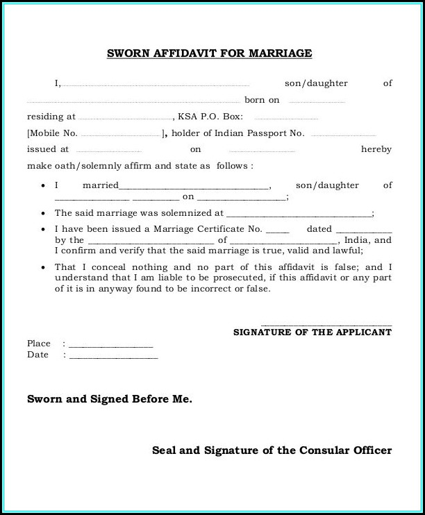 Free Sample Sworn Affidavit Form