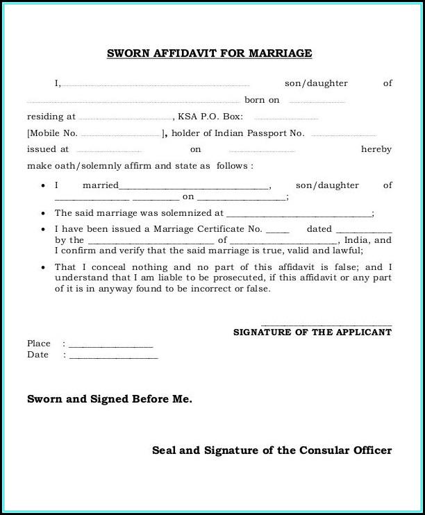 Free Sample Sworn Affidavit Form