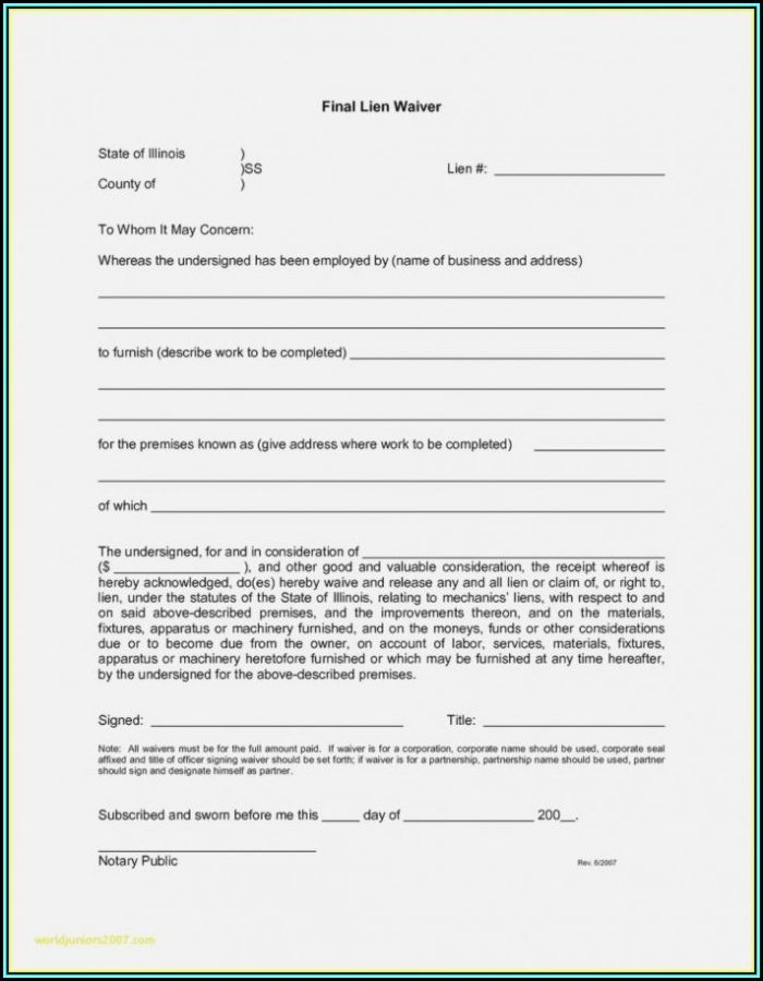 Free Supplier Lien Waiver Form