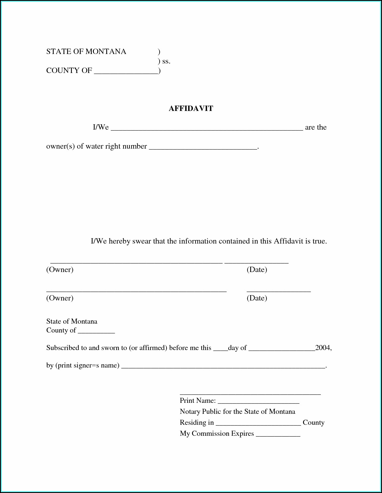 Free Sworn Affidavit Template