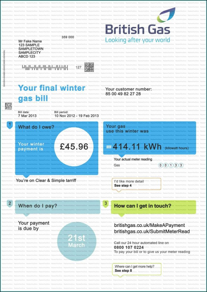Free Utility Bill Template Uk