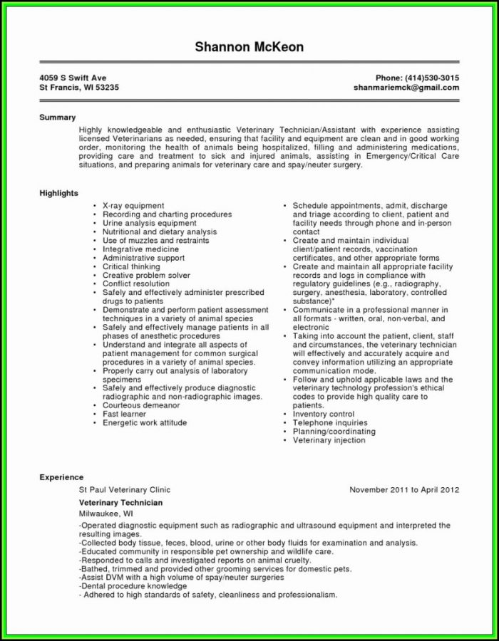 Free Veterinary Technician Resume Templates