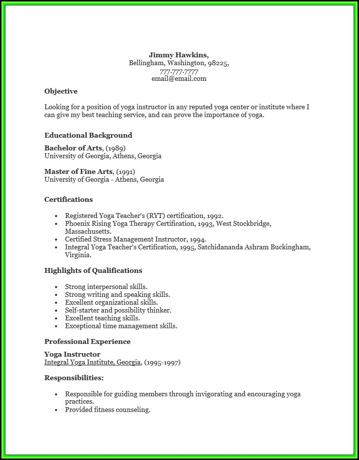Free Yoga Teacher Resume Template