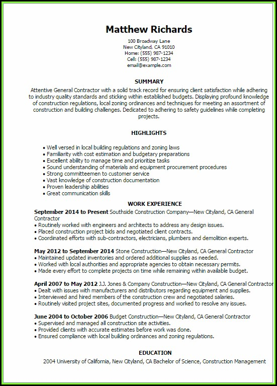 General Contractor Resume Template
