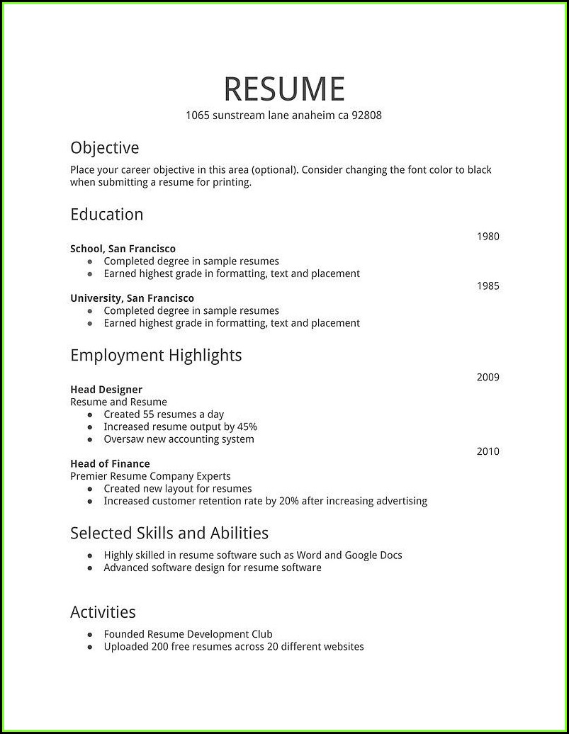 General Resume Template Free