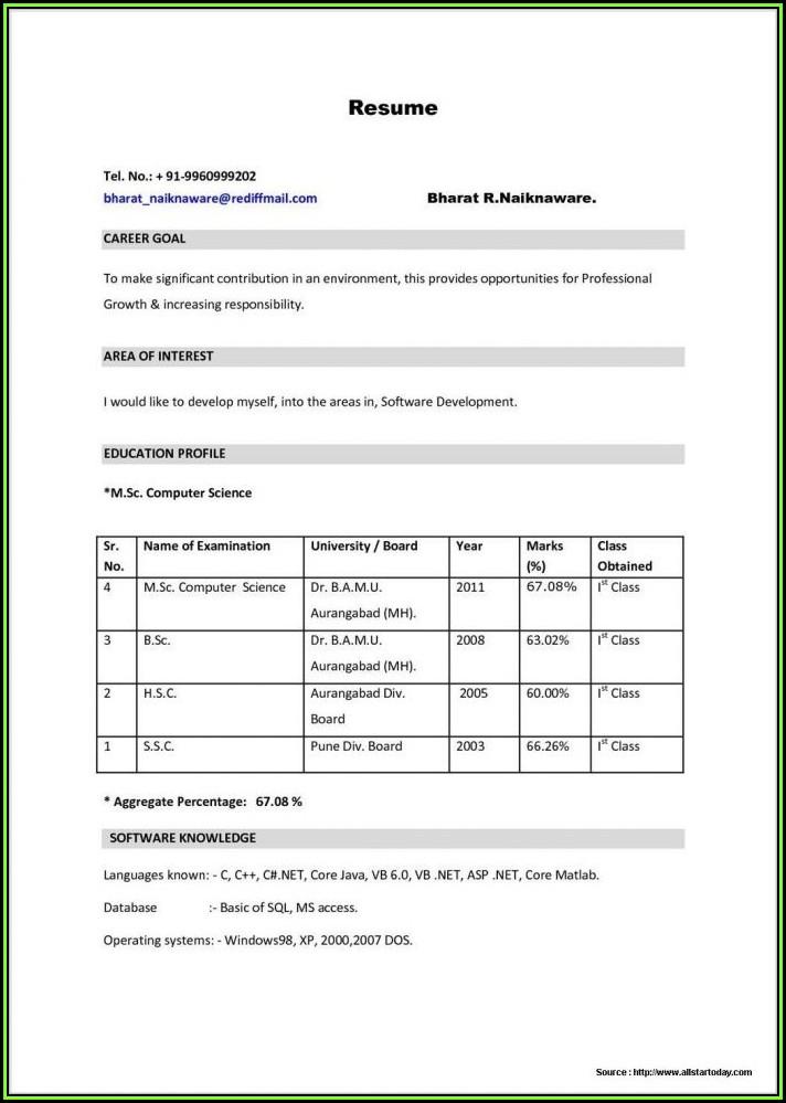 Gnm Nursing Resume Format Free Download